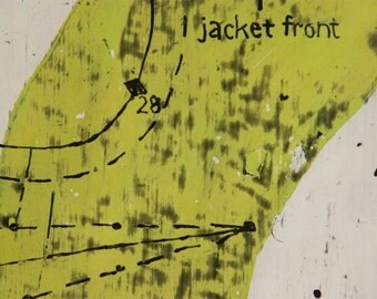 Lime Jacket, latex and carved drawing with encaustic on wood, sewing inspired