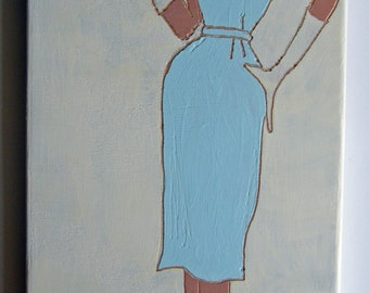 Simplicity 3608 - 35cents, powder blue and cream latex and carving on upcycled maple