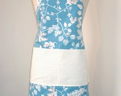 Full length apron - blue & white with a double pocket