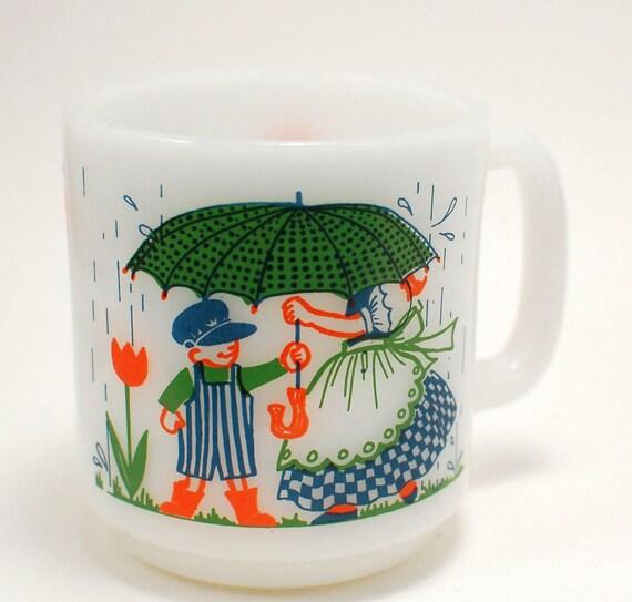 RESERVED  Vintage Glasbake Friendship Milk Glass Coffee Mug Cup  Kitsch