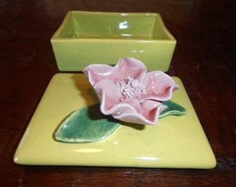 Jewelry box vintage floral jewelry box fifties decor vintage porcelain box floral ceramic box box with lid ceramic soap dish