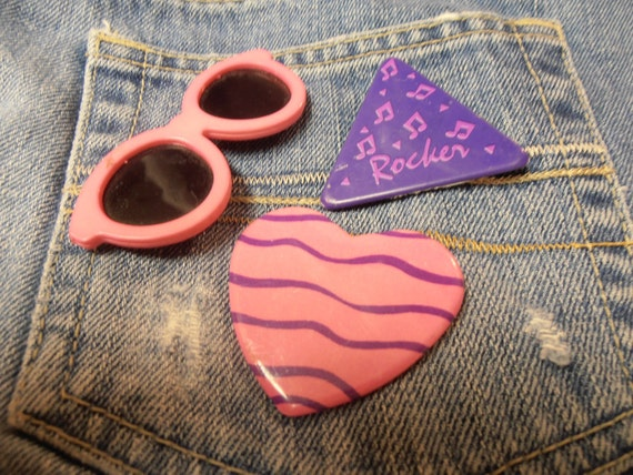 Eighties Pin, Button, Sunglasses, Heart, Rocker -Retro