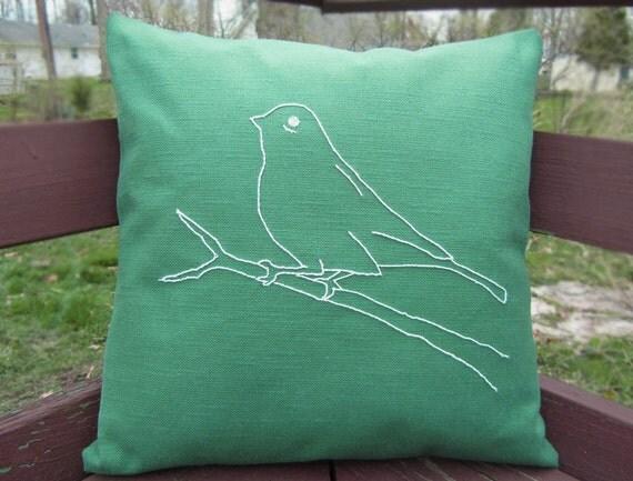 Pillow Cover 16 x 16 Green Hand Embroidered Bird Design