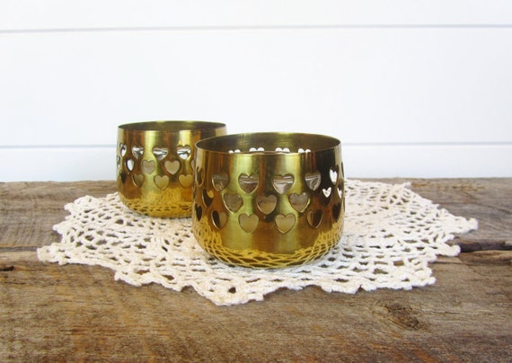 Vintage Brass Candle Holders with Hearts