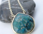 Blue Green Chrysocolla Stone Bezel Set Necklace- Gold Filled Chain