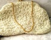 Ivory Beaded clutch purse 1950s Formal Wedding small purse - Elegant vintage beaded HandBag
