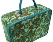 70s Turquoise Floral Travel-Case.  (Originally an Avon Presentation Bag.)