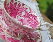 Beautiful COALPORT Footed Tea Cup and Saucer,Deep Pink Leaves,  England