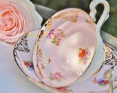 Gorgeous Westbrook  Tea Cup and Saucer, Pink, Floral, Gilt, England