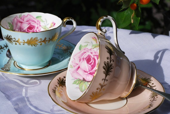 Vintage Aynsley Pair Tea Cups and Saucers, Blue, Peach, Pink Rose, Gilt, England c.1930's
