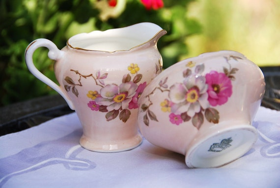 Vintage AYNSLEY Creamer and Sugar Pink Dogwood, England
