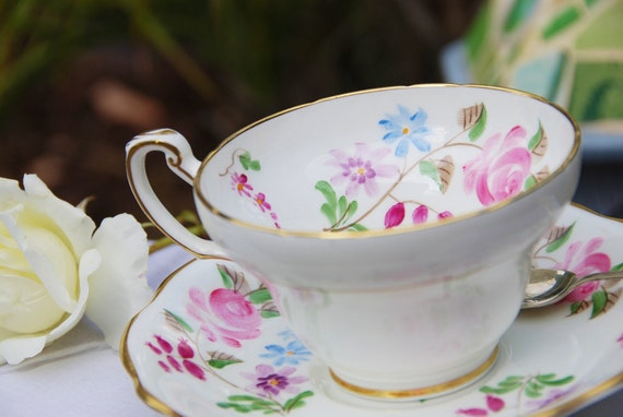 RESERVED FOR S.-Charming EB Foley Tea Cup Saucer, Pink Roses/ Floral, England