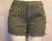 Waist  31  inches  ---Ready to Ship----Olive Green Denim Cut Off Shorts -Gold Studs-