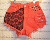Vintage High Waisted Orange Denim Shorts -  Studded With Lace --Waist 24.5  inches