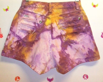 Vintage High Waisted TIE  Dyed  Denim Shorts - Studded Waist 25 inches