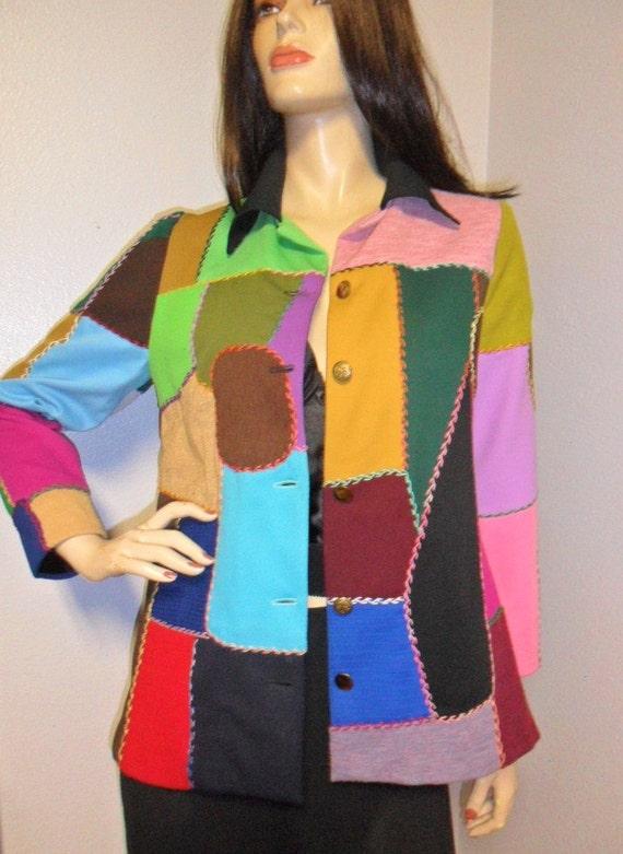 Vintage 60's Amazing  Colorful Handmade Patchwork Jacket Sz Small-Medium