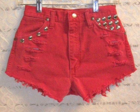 Vintage Wrangler High Waisted RED denim shorts Studded