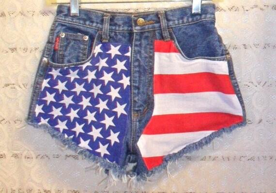 High Waisted Denim Shorts - American Flag Style Waist 25 inches