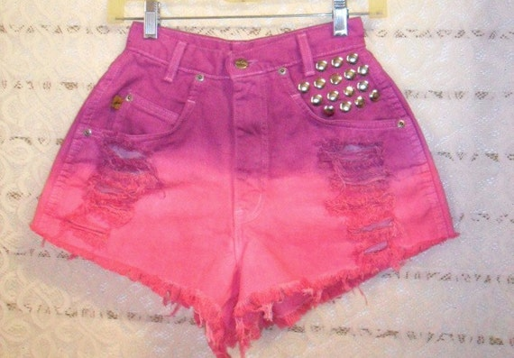 Vintage CHIC High Waisted Hand Dyed Denim Shorts - Studded--Waist 24 inches