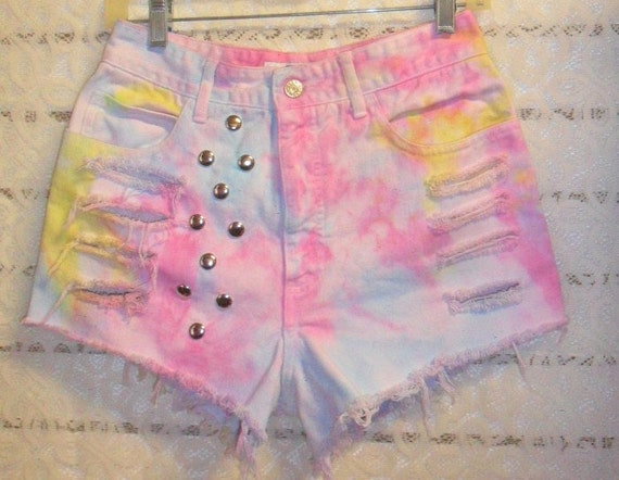Vintage Guess High Waisted TIE  Dyed  Denim Shorts - Studded Waist 28   inches