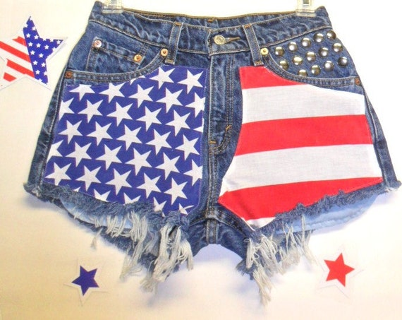 Levis 517 Low Rise Denim Shorts - Studded---American Flag Style Size 3-----Ready to Ship
