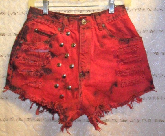Vintage Levis  High Waist RED  Hand Dyed Studded  Shorts -  Waist  27 inches