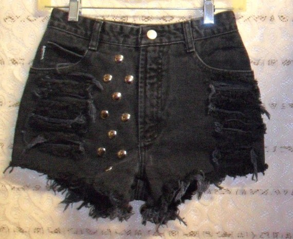Vintage High Waisted  BONGO Black Shorts  -Studded--Waist 25 inches
