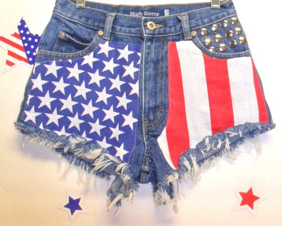 Vintage High Waisted  Denim Shorts - Studded---American Flag Style Waist 26   inches