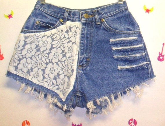 Vintage High Waisted Denim Shorts  &   Lace---Waist  24.5  inches