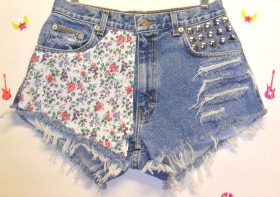 Vintage Calvin Klein Denim Shorts -Daisey Duke flower Print  -- Studded---Waist 28   inches