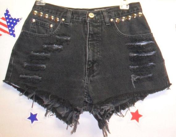 High Waisted Black Denim Shorts - Studded--- -Waist  27  inches