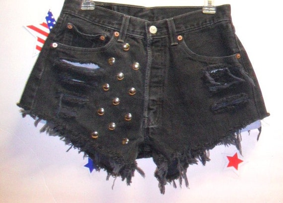 Vintage High Waisted Levis 501 Button Fly  Black  Denim Shorts - Studded---Waist  29  inches