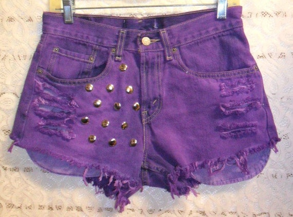 Levis Hand Dyed Purple  Denim Shorts --studded low rise style