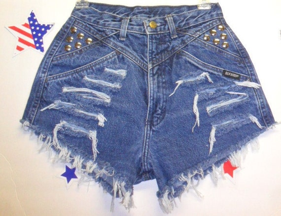 Vintage Rockies High Waisted Denim Shorts - Studded--- -Waist  25  inches