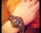 Pyrite Bracelet // Chunky Vintage Chain
