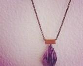 Coachella Jewelry Amethyst crystal Raw Necklace with Brass Bar