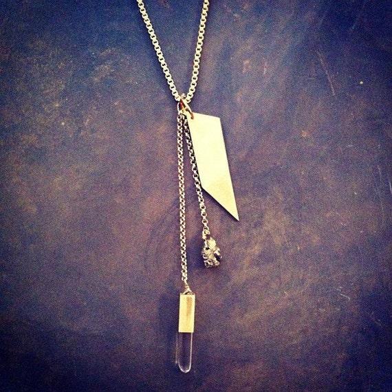 Geometric Metal Pyrite Crystal Tassel Necklace Vintage Chain