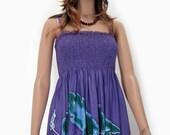 Bali Purple Hand Painted Flower Batik Tropical Floral Sundress Bridesmaids Bridal Wedding Summer Beach Valentine Outings Free Size 1X 2X 3X