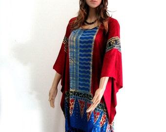 Plus Size, Red Blue, Batik Dress, Tunic Dress, Caftan Dress, Kaftan Dress, Pregnant Dress, Maternity Dress, Beach Coverup, Womens Dresses