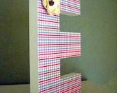 SALE - Decorative Letter E - E is for Ellie, Elizabeth or ...Plaid bright colors