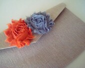 Bridesmaid Two Flower Clutch Frayed Roses- Made to Order Wedding