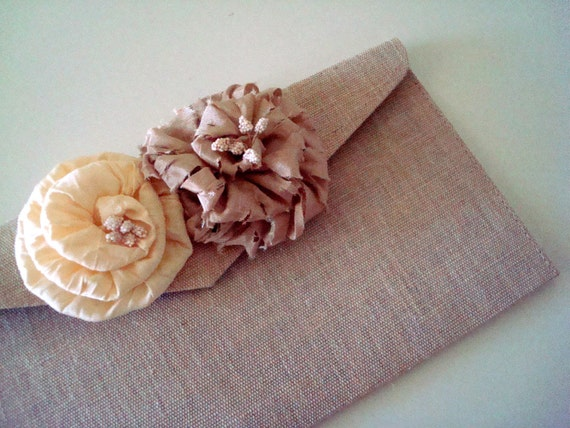 Bridesmaid Clutch - Champagne and Ivory Flowers- Wedding, Formal, Prom - MADE TO ORDER