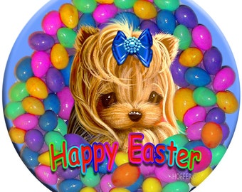 """Special:))) Yorkie Yorkshire Terrier Personalized Easter Magnet Set of Three 3.5"""" Easter Magnets"""