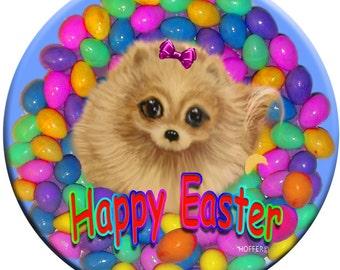 Personalized Easter Pomeranian 3 Inch Magnet Original Art Custom Pet Gifts