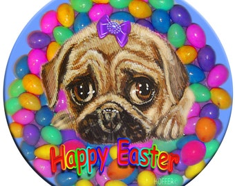 """Personalized Easter Pug Magnet 3.5"""" size Original Art by Ladyjane"""