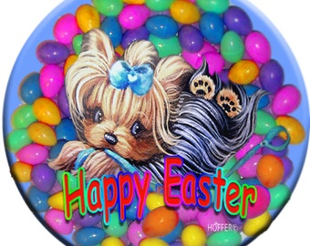 """Personalized Easter Yorkie Pup 3.5"""" Round Magnet Pet Art"""