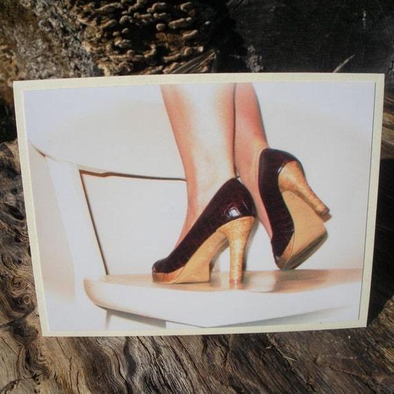 Brown Faux Snakeskin Heels Blank Greeting Card