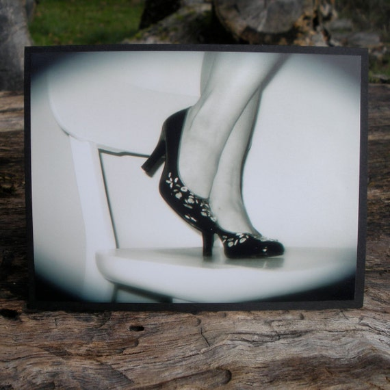 Black White High Heels Pin Up Picture Greeting Card
