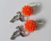 Bridesmaid Earrings Mint Earrings Flower Earrings Women Jewelry Gift Bow Earrings Wedding Earrings Orange Earrings Neon Earrings Bow Jewelry