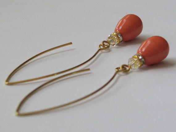 Coral Earrings Hypoallergenic Earrings Rhinestone Earrings Coral Jewelry Women Jewelry Gift Swarovski Earrings Wedding Earrings Pearl